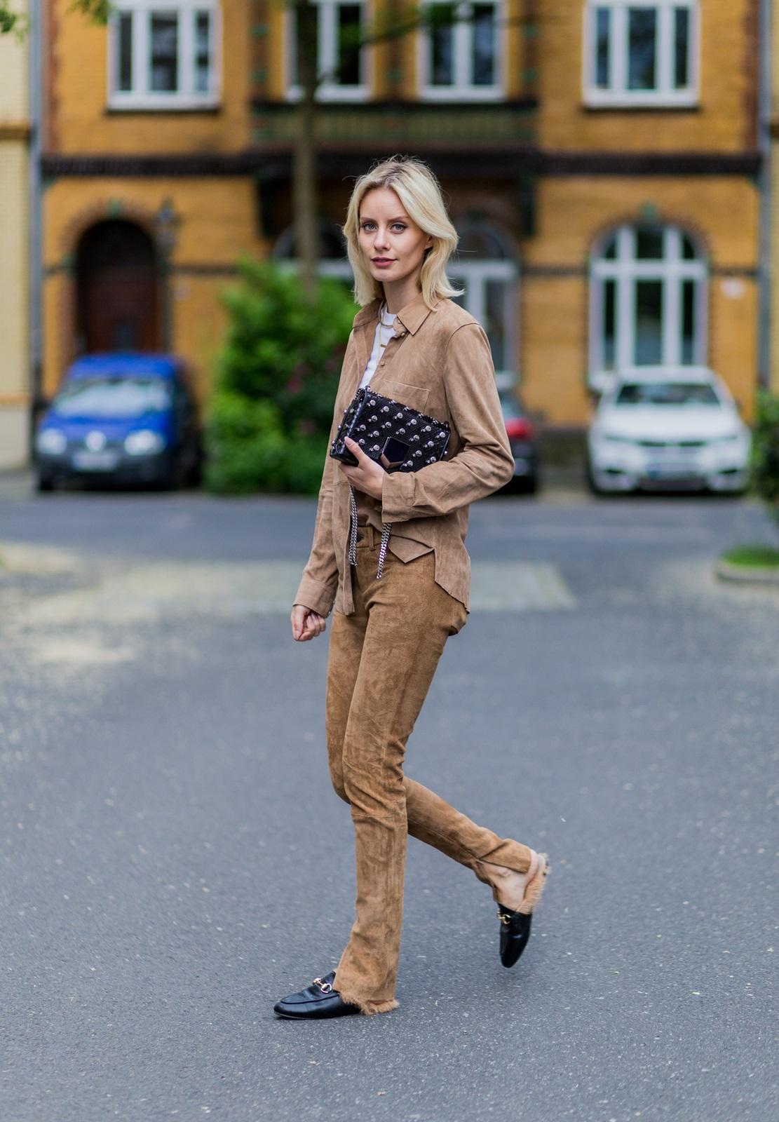 Imagini pentru fashion suede camel pants