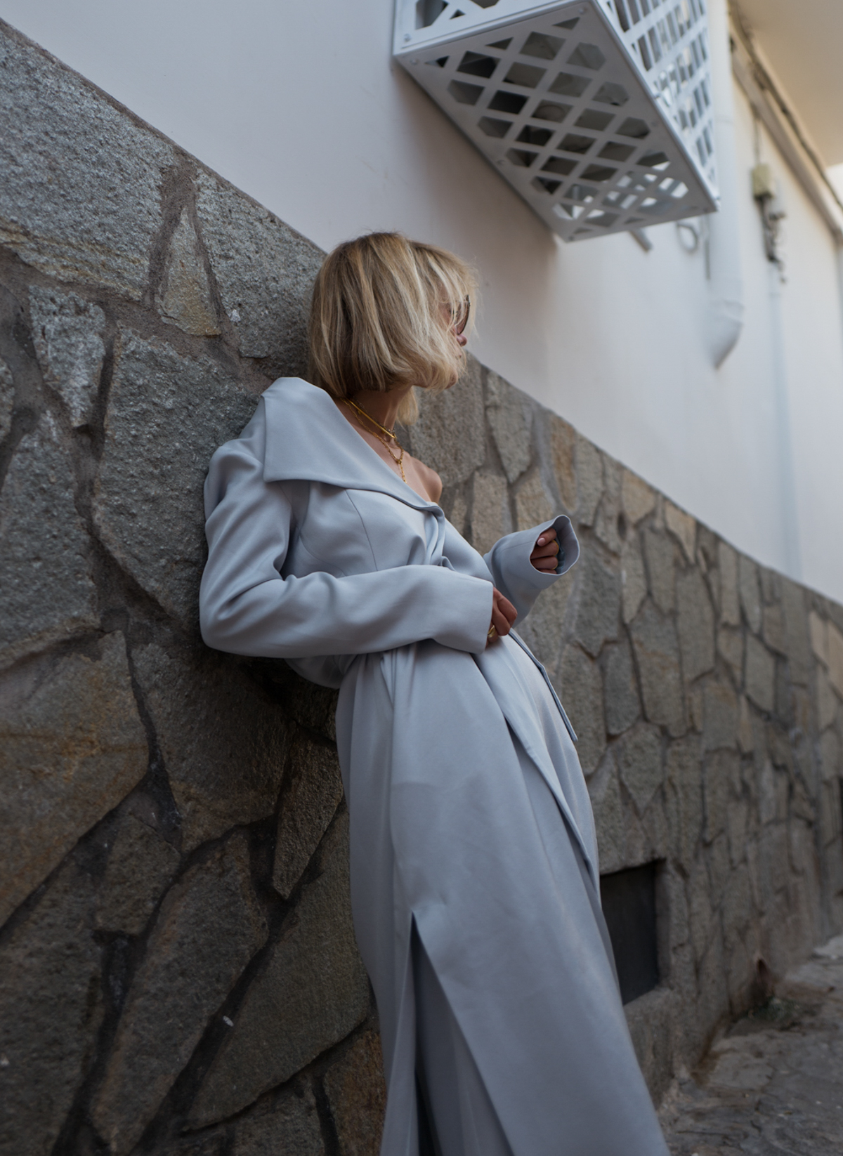 Max&Co. Light Grey Duster Coat Palazzo Trousers Lisa Hahnbück Fashion Blog