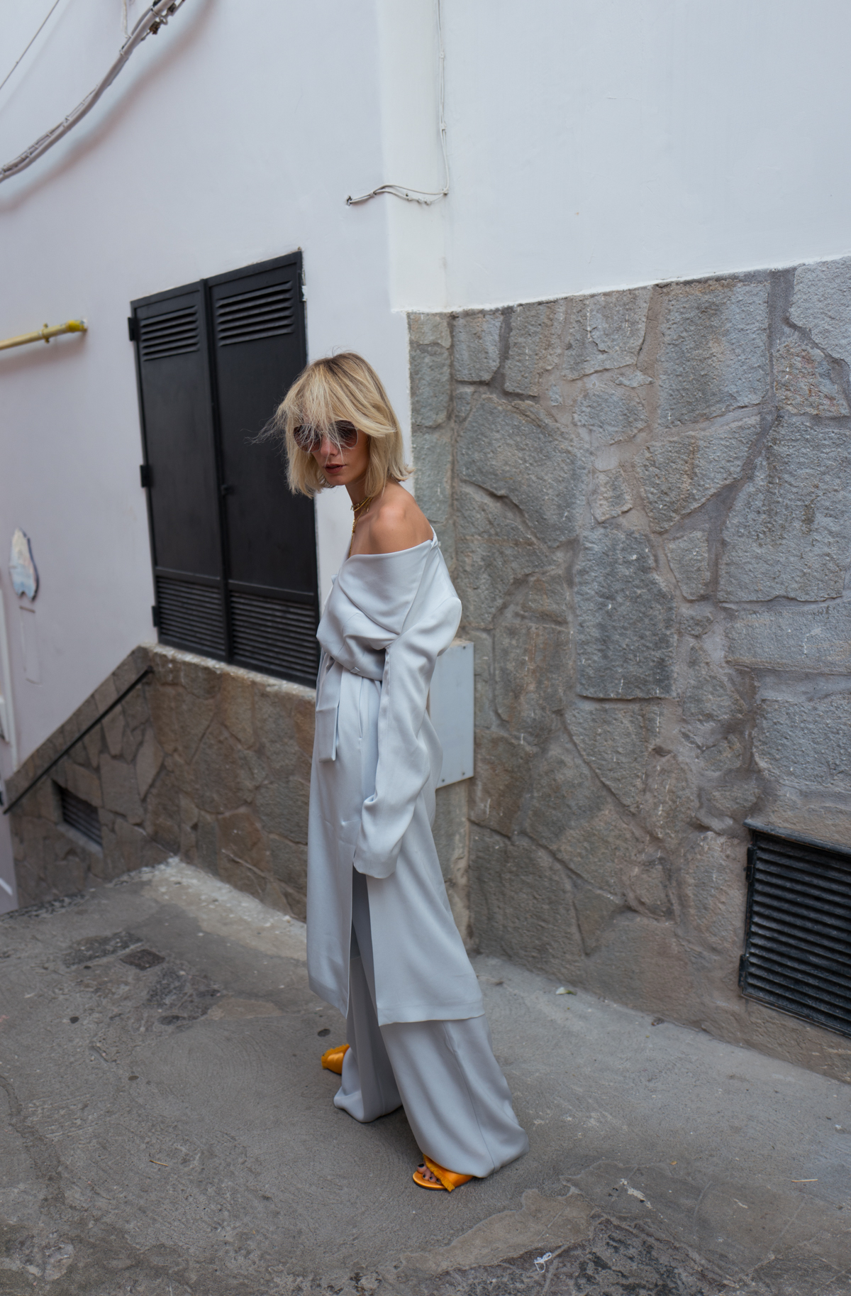 Light Grey Duster Coat & Palazzo Trousers w/ MAX&Co.