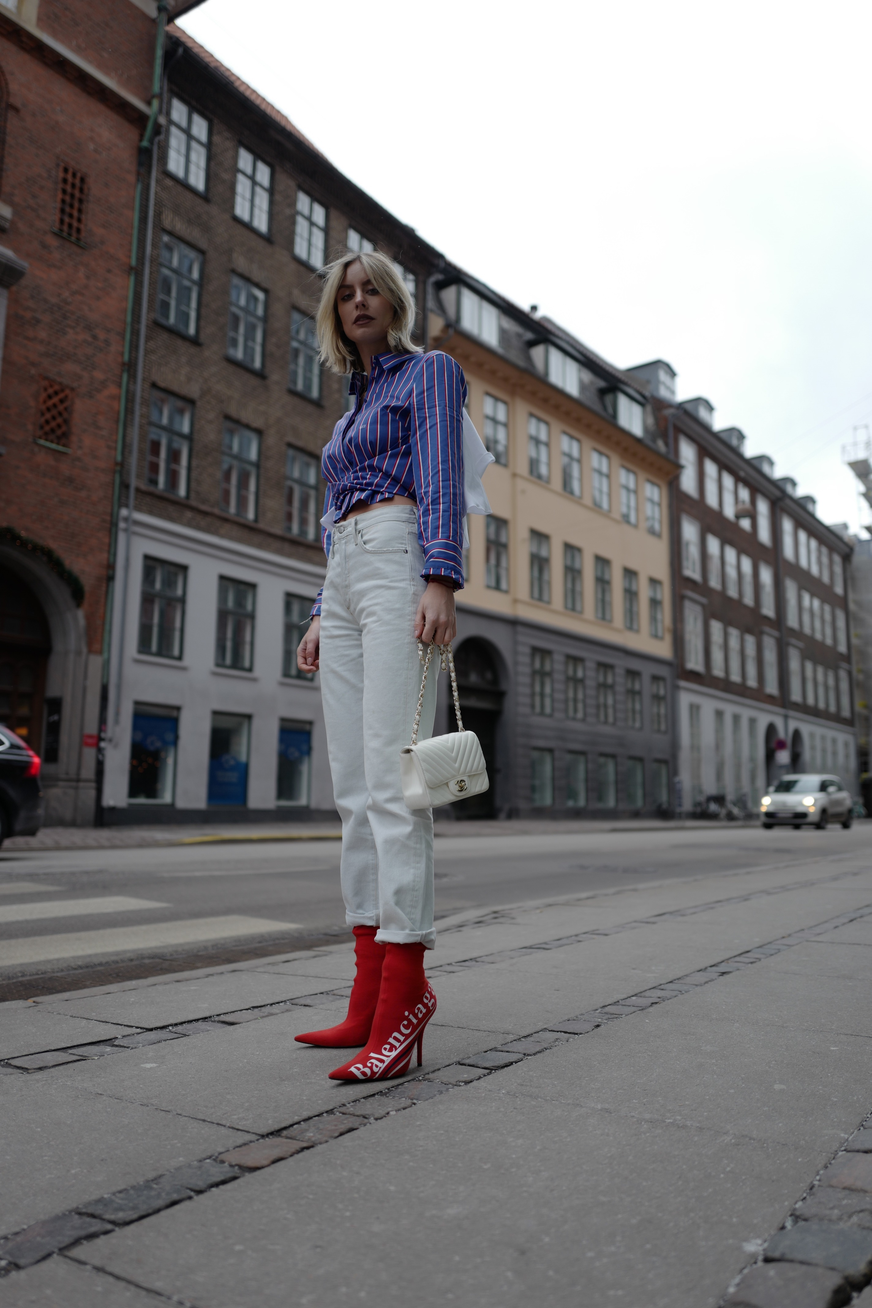 Off-White striped shirt Lisa Hahnbück Fashion Blogger Fashion Week Copenhagen Outfit