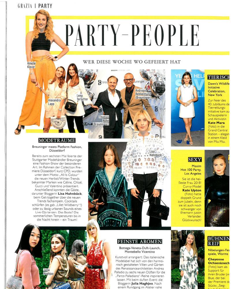 lisa hahnbück presse fashion blogger grazia magazin party people